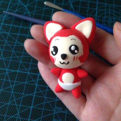 小阿狸的粘土制作过程照片,关注微信订阅号renyu918520有教程哦