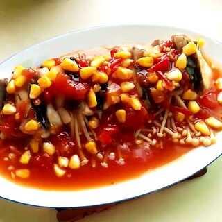 #美食#番茄金针鱼卷,酸酸甜甜好好吃😚😘