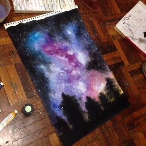手绘水彩画 手绘星空画 星空 爱画画的紫霞的美拍