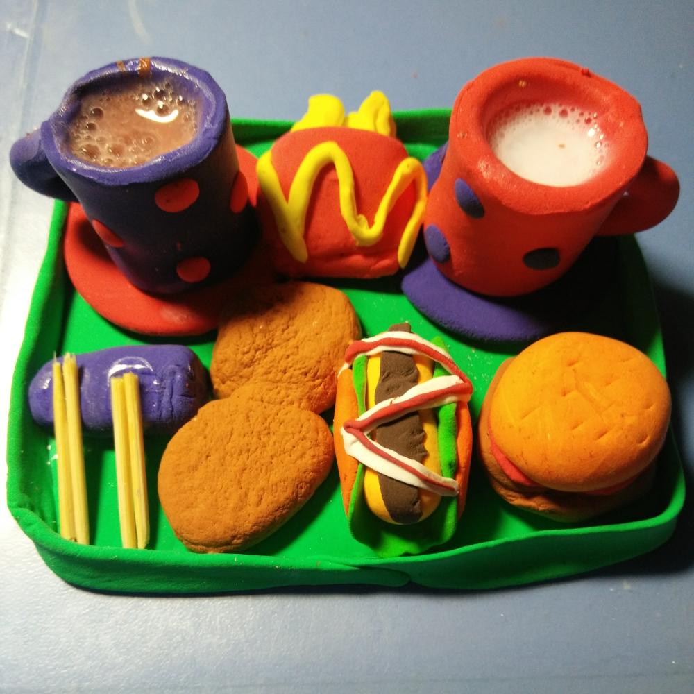 点赞哦亲^ _ ^# #超轻粘土仿真食物# #仿真的粘土食物# #我的粘土作品