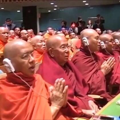 #现场直击# 各国佛教徒齐聚纽约联合国总部庆祝卫塞节——佛祖释迦牟尼诞生、成道、涅槃的日子。