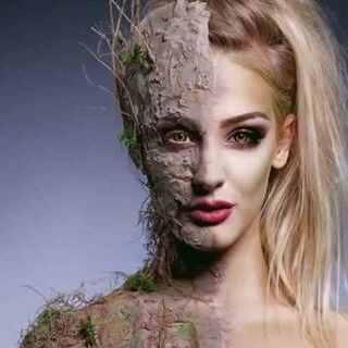 树皮皮肤特效化妆教程,高颜值就是任性#时尚##时尚美妆##整容级化妆术
