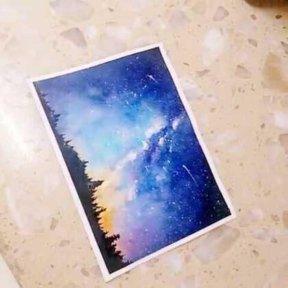 星空 水彩画 水彩 手绘