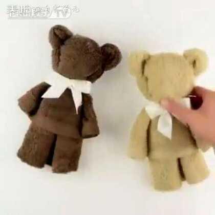 #旧物改造#想做其实不难,只要你有心。一条毛巾就可以做一只泰迪熊🐻😃😃