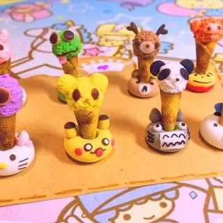 mini小动物脆皮甜筒冰激凌虽然下雨降温了,但是还是做了一堆小甜筒(`)