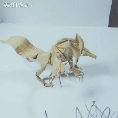 现代折纸狼人 40cm正方形牛皮纸 不裁不剪一纸折成