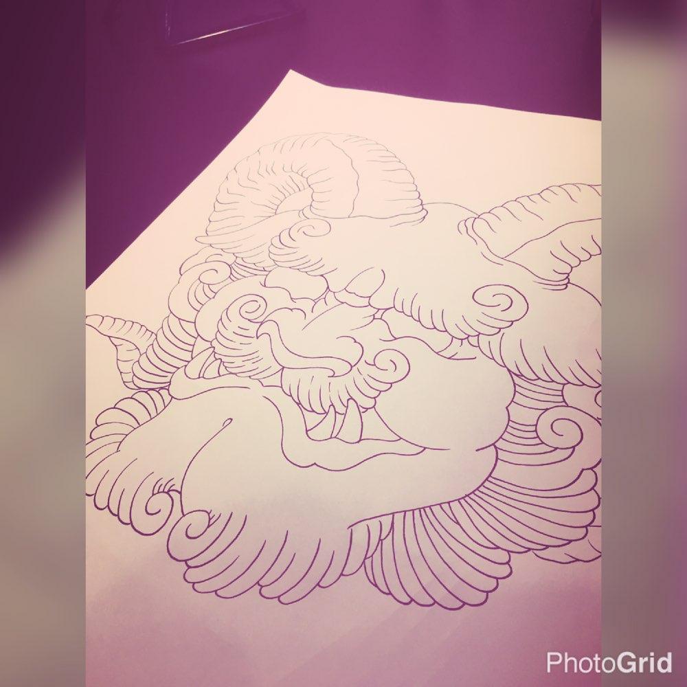 钟纹身图案手稿