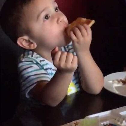 So funny watching him eating pizza