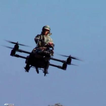 直升机飞行摩托,不仔细看像骑着天鹅,仿生学原理吗?