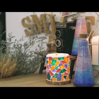 #造物集小日子#玻璃渣美出新境界,做成马赛克烛台,让色彩斑澜的烛光,装点你每个孤单入眠的夜。@造物集#手作温暖生活##生活#