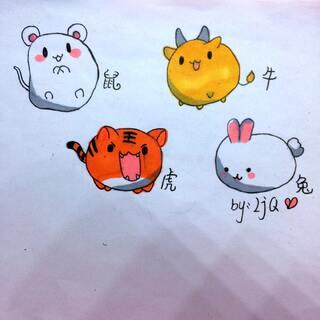 #萌萌哒简笔画##圆圆的小动物##我的马克笔画#