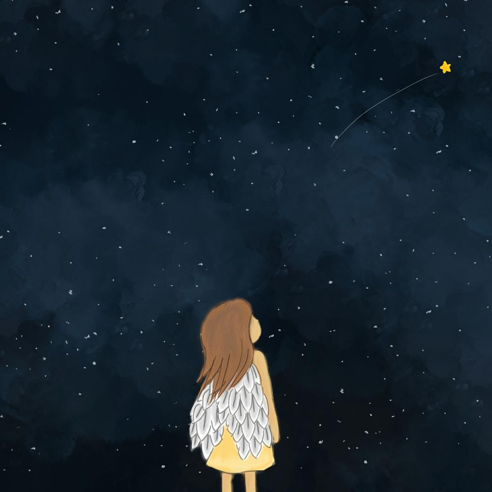 仰望星空的女孩!(^_^)图片