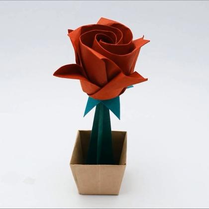 教你折一朵玫瑰花,折出来最精致的玫瑰花送给你的TA吧#手工##折纸##生活DIY教程#