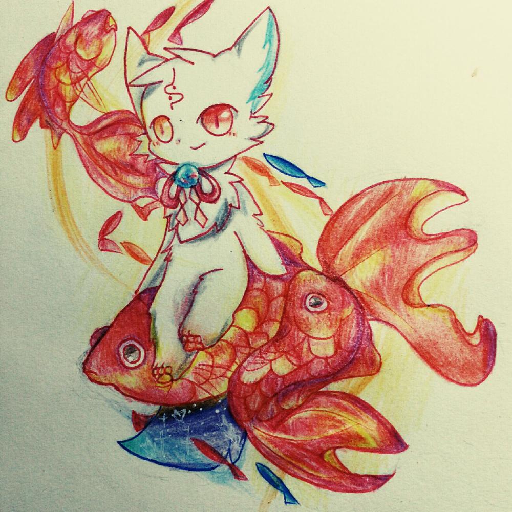 鱼塘画彩铅简笔画风景