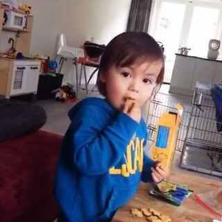 #宝宝##搞笑##荷兰混血小小志&柒##荷兰混血小小志#终于接小志回来了,一回来各种分饼干给我们吃,你瞧哎哟我家小爷好有福气,小志给喂的饼干还抹了口水... ...