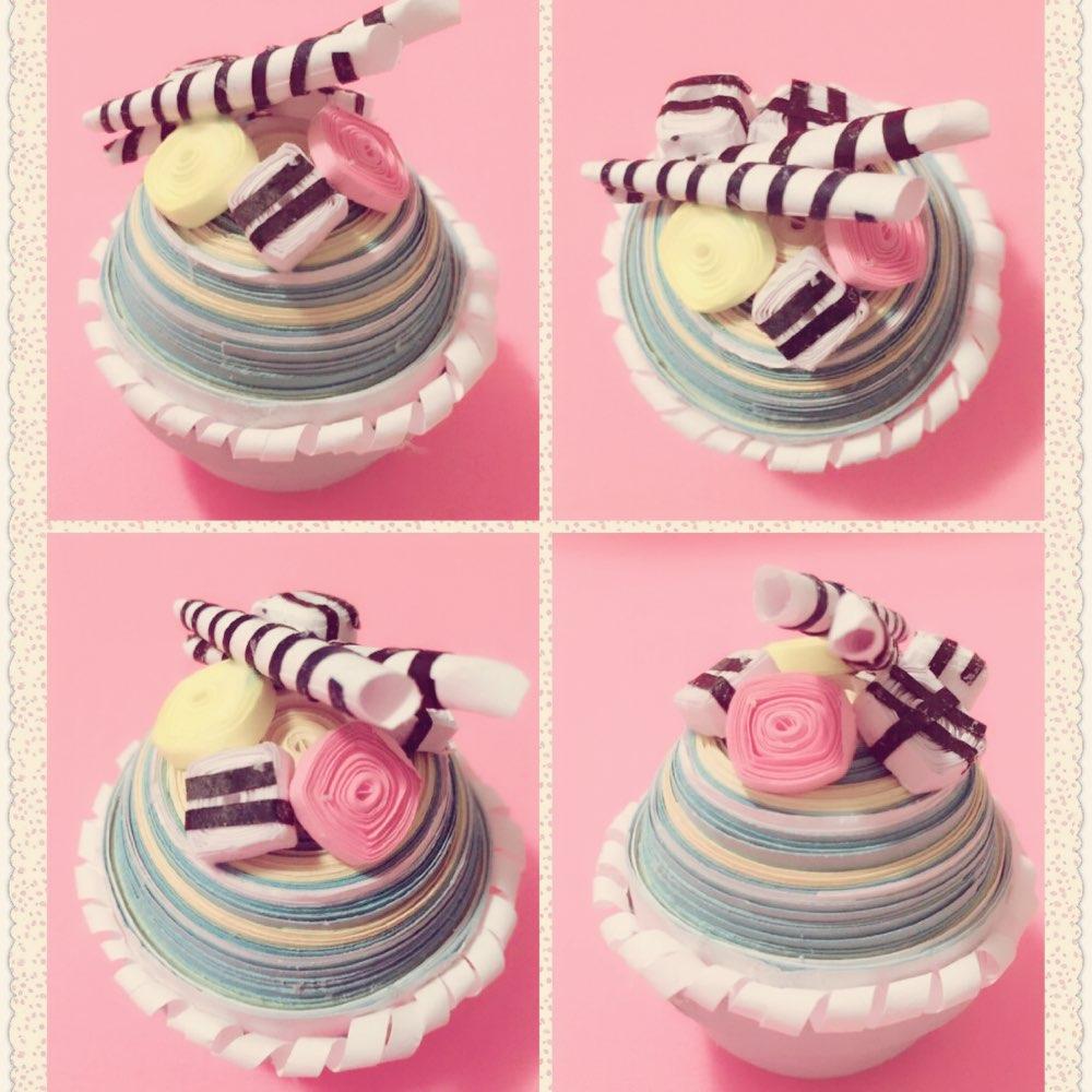 今天给大家分享一个超级简单的衍纸蛋糕做法