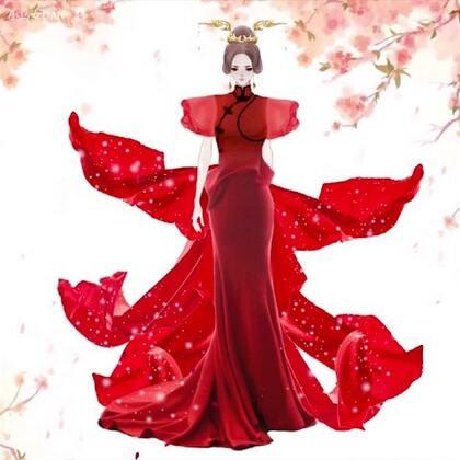 #花的嫁纱#花的嫁纱系列45,古装嫁纱来袭,结合旗袍,秀出修长身材,丝带飘舞,显的霸气~回到厦门就好像找回了灵感,下套灰色合成中#穿秀##时尚#