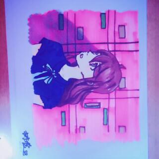 刚刚画的😂用了新买的168色马克笔,对于画这种画,还在学习中😊希望大家多指点😄@Hotaru♀ #马克笔手绘漫画##touch马克笔##我的马克笔画#