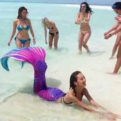航拍版美少女潜水团在#马尔代夫#航海的八天#旅行##女神#