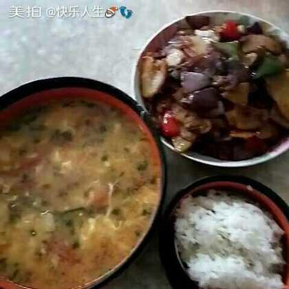 回锅烧土豆加上番茄鸡蛋汤#美食#