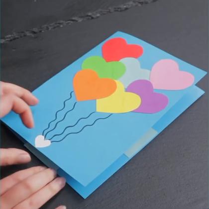 一分钟教你做3D彩虹卡片,可以收藏下!😍