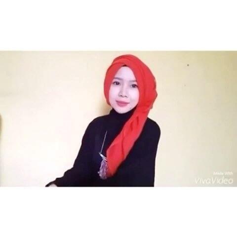 穆斯林头巾戴法 穆斯林纱巾教程 方巾特别的戴法 Khadija 的美拍图片
