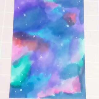 第一次尝试画这种风格,以后会多发这类作品哒~我一般都是晚上直播,考完试那天应该可以直播。#手绘星空画##马克笔绘画#不喜勿喷!