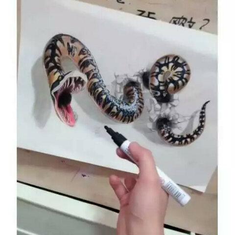 【贩萌翠花嗜血伯爵手绘美拍表情文】#3d立体画##蟒蛇##手绘#去年画的