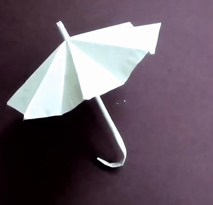 教你叠把小雨伞,还能收起来哦#手工##折纸##生活DIY教程#