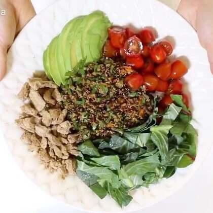 Vegan quinoa salad recipe 🥗 #美食##减肥##自制美食#