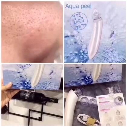 🔘#aquapeel 去黑头神器#Auquapeel 韩国美容院用的小气泡就是这个牌子,出了家装!去黑头器,全自动吸黑头,配4个头!吸头可以反复清洗使用,男女通用 ,深层清洁、去黑头粉刺、疏通毛孔!#aquapeel# 💰138包邮