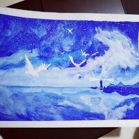 下午好 手绘水彩画 星空 贺贺是画画的 犬子的树 爱上仙人掌的那些日子