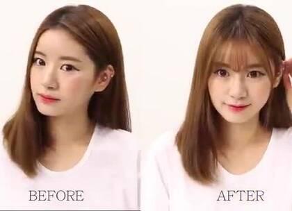 #一分钟剪空气刘海# 韩国妹子教你如何剪出美美的空气刘海,一分钟速成