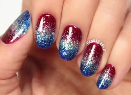 #美妆时尚##我要上热门#红蓝银闪光渐变美甲,喜欢就试试吧~😘😘#美甲教程#