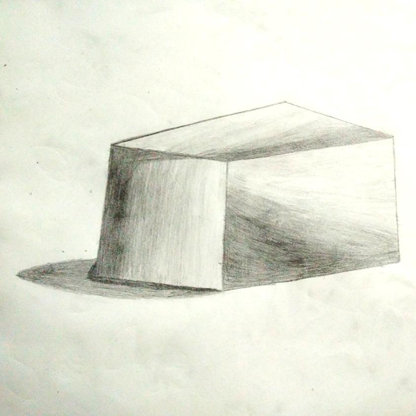 素描一个正方体,不会画,刚刚学的