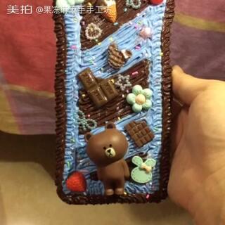 #手工##奶油胶手机壳#布朗熊巧克力款