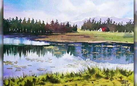 画想画的风景,田间湖畔