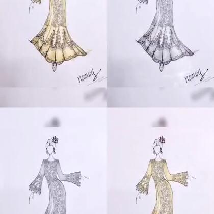 #服装设计手绘#补一波上色稿~谢谢你们长得这么好看还关注我~😘#我要上热门@美拍小助手#