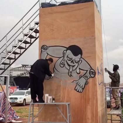 阿拉善英雄会塔楼涂鸦全程。#涂鸦##graffiti##画画#