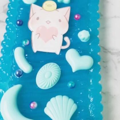 #手工##diy创意手机壳##奶油皇后创意工作室#客单~蓝色猫猫~喜欢的小可爱可以加微信定制哦!😘😘