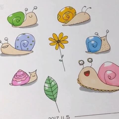 简笔画 六只可爱的蜗牛 适合做手抄报的图案 宝宝们一起画 桃子部落的