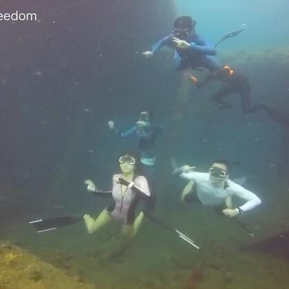 和一群逗逼的自由潜水员在美国自由号沉船跳舞^_^#自由潜#