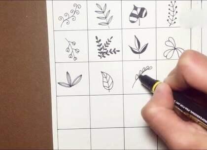 3分钟教你画48片叶子,超简单,美翻你的手抄报手帐本!#手工##生活小技能#
