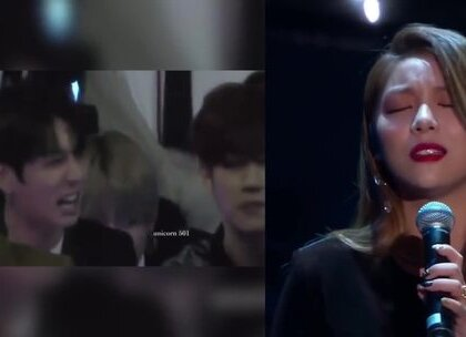 #现场reaction#防弹少年团田征国看Ailee唱《像初雪一样靠近你》😍我感觉果果中了这首歌的毒了😂😂#音乐#