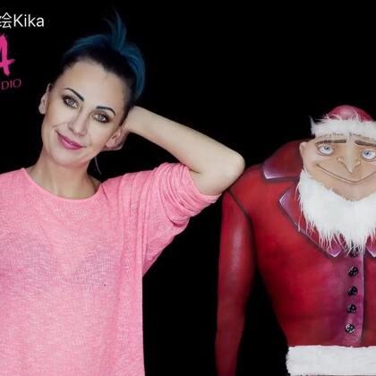 今天是#小黄人#的爸爸格鲁~ #卑鄙的我#圣诞节快到啦,格鲁也变成圣诞格鲁了哦😜😜#人体彩绘#