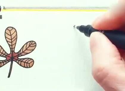 教你画各种彩色叶子,手残也能学会的简单画法#手工#