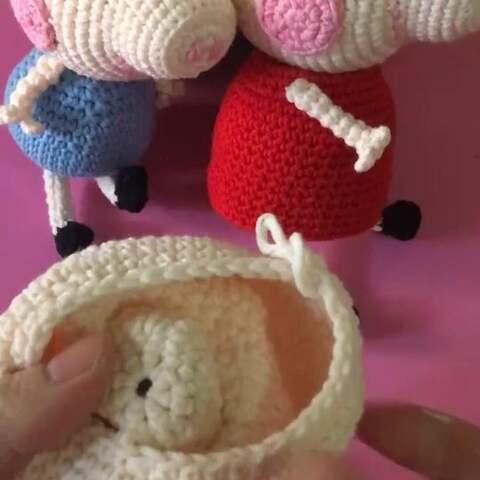 小猪佩奇教程11#手工##钩针编织玩偶#猪鼻子,眼睛,最