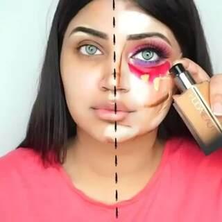 为了让大家看看化妆前后的区别,妹子给大家展示一个半面妆!#化妆##彩妆##半面妆#
