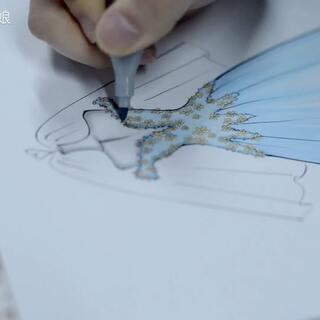 服装效果图##绘画步骤##婚纱礼服##马克笔手绘