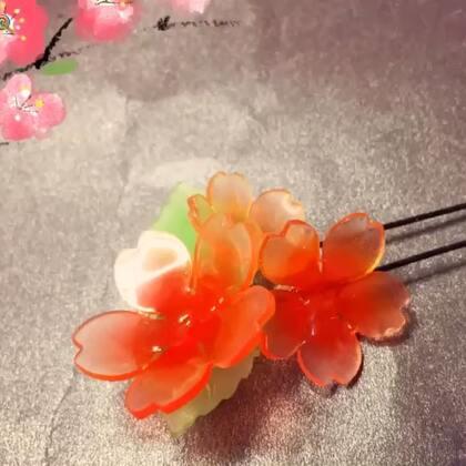 #手工#🌸热缩片樱花发钗🌸,超级简单的一款热缩片发钗,直接用的不用裁剪的热缩片,不会画画的宝宝也可以开心地玩热缩片啦。材料微店已经上架喽#宿天使专属##手绘热缩片#